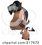 Royalty Free RF Clipart Illustration Of A 3d Charlie Horse Looking Up And Wearing Shades