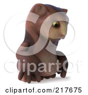 Royalty Free RF Clipart Illustration Of A 3d Owl Character Facing Right And Pouting by Julos