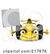 Royalty Free RF Clipart Illustration Of A 3d Yellow Formula One Taxi Car Facing Front With A Blank Sign