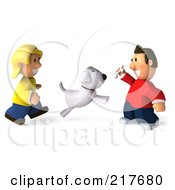 Royalty Free RF Clipart Illustration Of A 3d Casual Couple Playing Bone Fetch With Their Dog
