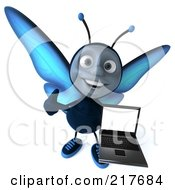 Royalty Free RF Clipart Illustration Of A 3d Blue Butterfly Holding A Thumb Up And A Laptop