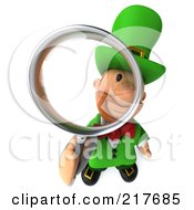 Royalty Free RF Clipart Illustration Of A 3d Leprechaun Man Looking Up Through A Magnifying Glass