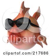 Royalty Free RF Clipart Illustration Of A 3d Pink Fish Wearing Shades And Facing Left