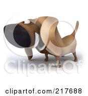 3d Chubby Dachshund Dog Facing Left - 2
