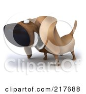 Royalty Free RF Clipart Illustration Of A 3d Chubby Dachshund Dog Facing Left 2