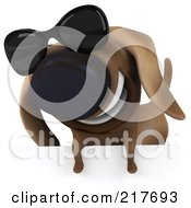 Royalty Free RF Clipart Illustration Of A 3d Chubby Dachshund Dog Wearing Shades Over A Blank Sign 1