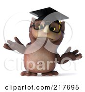 Royalty Free RF Clipart Illustration Of A 3d Owl Professor Facing Front And Shrugging by Julos