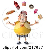 3d Chubby Burger Man Juggling A Hot Dog Pizza Soda Cupcake Donut Popsicle And Burger