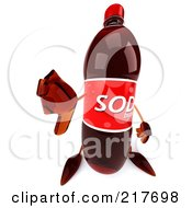 Royalty Free RF Clipart Illustration Of A 3d Soda Bottle Holding A Thumbs Down
