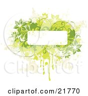 Clipart Picture Illustration Of A White Text Box With Yellow Tan And Green Splatters Vines And Flowers Over A Whtie Background