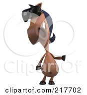 Royalty Free RF Clipart Illustration Of A 3d Charlie Horse Facing Front And Wearing Shades