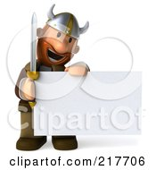 Royalty Free RF Clipart Illustration Of A 3d Viking Smiling Down At A Blank Sign Board