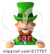 Royalty Free RF Clipart Illustration Of A 3d Leprechaun Man Smiling Above A Blank Sign Board