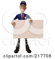 Royalty Free RF Clipart Illustration Of A 3d Slender Mechanic Facing Front And Holding A Blank Sign Board