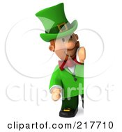 Royalty Free RF Clipart Illustration Of A 3d Leprechaun Man Smiling Around A Blank Sign Board