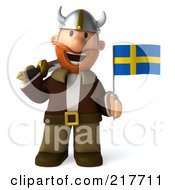 Royalty Free RF Clipart Illustration Of A 3d Viking Facing Front With A Swedish Flag by Julos