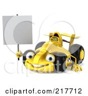 Royalty Free RF Clipart Illustration Of A 3d Yellow Formula One Taxi Car Facing Left With A Blank Sign