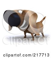 Royalty Free RF Clipart Illustration Of A 3d Chubby Dachshund Dog Facing Left 1