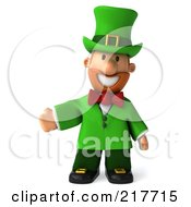 Royalty Free RF Clipart Illustration Of A 3d Leprechaun Man Facing Front And Presenting