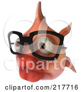 Royalty Free RF Clipart Illustration Of A 3d Pink Fish Wearing Glasses And Facing Left
