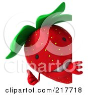 Royalty Free RF Clipart Illustration Of A 3d Strawberry Holding A Thumb Up Around A Blank Sign by Julos