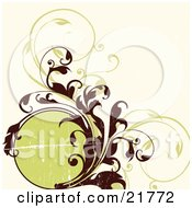 Clipart Picture Illustration Of A Circular Text Box With Brown And Green Curling Vines