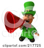 Royalty Free RF Clipart Illustration Of A 3d Leprechaun Man Using A Red Megaphone