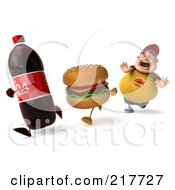 3d Chubby Burger Man Chasing Soda And A Cheeseburger
