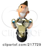 Royalty Free RF Clipart Illustration Of A 3d Toon Guy Doctor Holding A Trophy And Looking Up