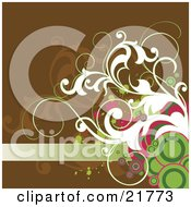 Clipart Picture Illustration Of A Blank Green Text Bar With Pink Green And White Circles Splatters And Vines On A Brown Background