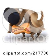 Royalty Free RF Clipart Illustration Of A 3d Chubby Dachshund Dog Carrying A Hot Dog