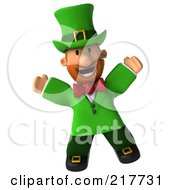 Royalty Free RF Clipart Illustration Of A 3d Leprechaun Man Facing Front And Jumping by Julos