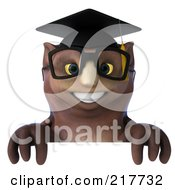 3d Owl Professor Facing Front Over A Blank Sign