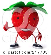 Royalty Free RF Clipart Illustration Of A 3d Strawberry Holding A Thumb Up by Julos