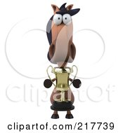 Royalty Free RF Clipart Illustration Of A 3d Charlie Horse Facing Front With A Trophy