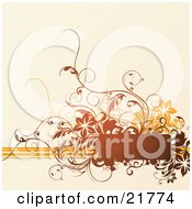 Clipart Picture Illustration Of A Brown Blank Text Space With Orange And Brown Lines And Flowers Over A Tan Background