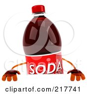 Royalty Free RF Clipart Illustration Of A 3d Soda Bottle Holding A Blank Sign Board