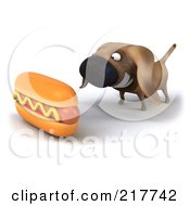 Royalty Free RF Clipart Illustration Of A 3d Chubby Dachshund Dog Staring At A Hot Dog