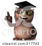 Royalty Free RF Clipart Illustration Of A 3d Owl Professor Facing Front And Pointing Upwards by Julos