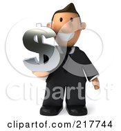Royalty Free RF Clipart Illustration Of A 3d Business Toon Guy Facing Front With A Dollar Symbol by Julos