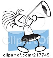 Royalty Free RF Clipart Illustration Of A Stick Cheerleader Girl Using A Megaphone