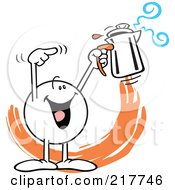 Royalty Free RF Clipart Illustration Of A Moodie Character Holding A Percolator by Johnny Sajem