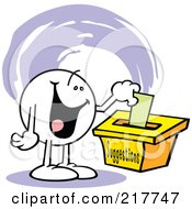 Royalty Free RF Clipart Illustration Of A Moodie Character With A Happy Expression Putting A Comment In A Suggestion Box by Johnny Sajem