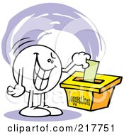 Royalty Free RF Clipart Illustration Of A Moodie Character With An Evil Expression Putting A Comment In A Suggestion Box