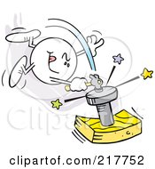 Royalty Free RF Clipart Illustration Of A Moodie Character Hitting A Nail On The Head