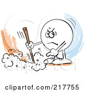 Royalty Free RF Clipart Illustration Of A Moodie Character Marking A Line And Pointing by Johnny Sajem