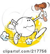Royalty Free RF Clipart Illustration Of A Moodie Character Running With A Gavel