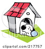 Royalty Free RF Clipart Illustration Of A Grumpy Dog Resting In His House by Johnny Sajem