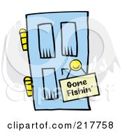 Royalty Free RF Clipart Illustration Of A Gone Fishin Sign Hanging On A Blue Door by Johnny Sajem