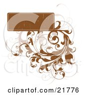 Blank Brown Worn Text Box With Bold And Faded Vines On A White Background